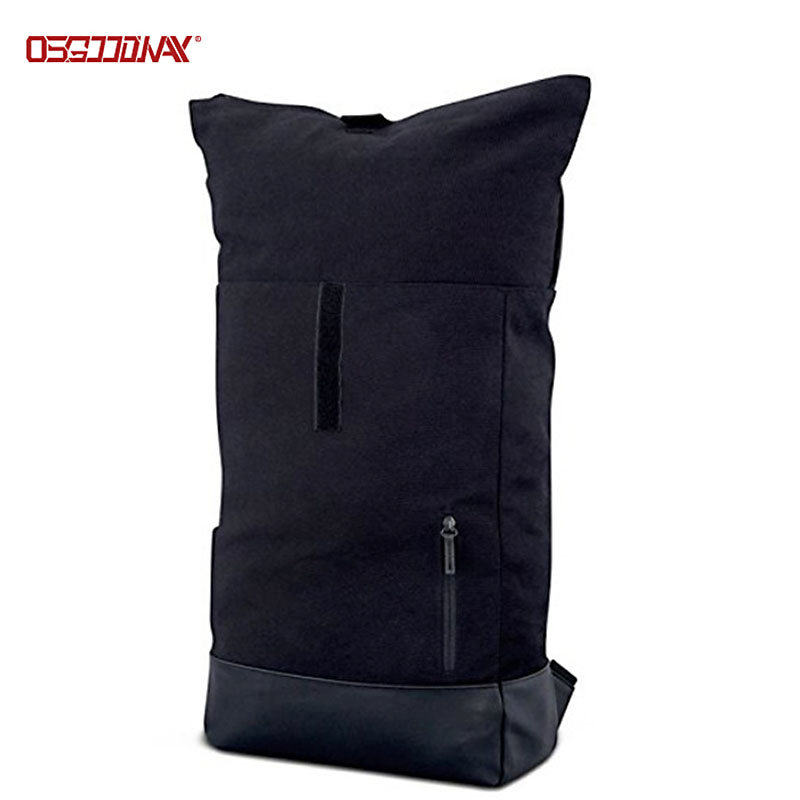 Black Canvas Backpack for Men Women Top Roll Waterproof Canvas Rucksack Backpack