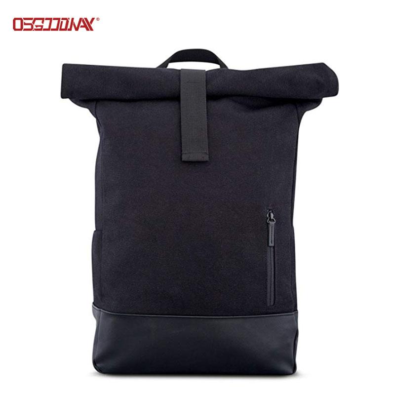Black Canvas Backpack for Men Women Top Roll Waterproof Canvas Rucksack Backpack-backpack, school b
