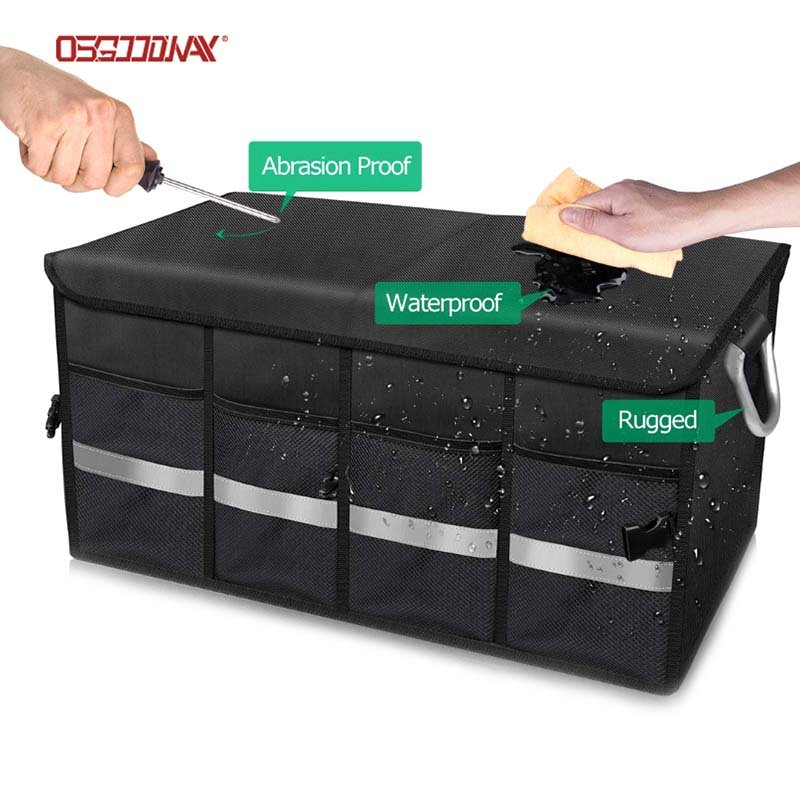 Custom Oxford Foldable Car Trunk Storage Organizer with Cover for SUV and VAN