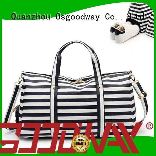 Waterproof Casual Striped PU Leather Shoes Compartment Weekender Duffle Bag Travel Tote Bag For Women