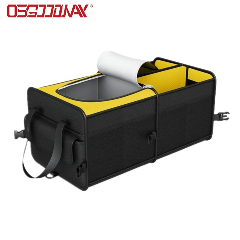 Collapsible Portable Trunk Cargo Organizer with Insulated Cooler Compartments