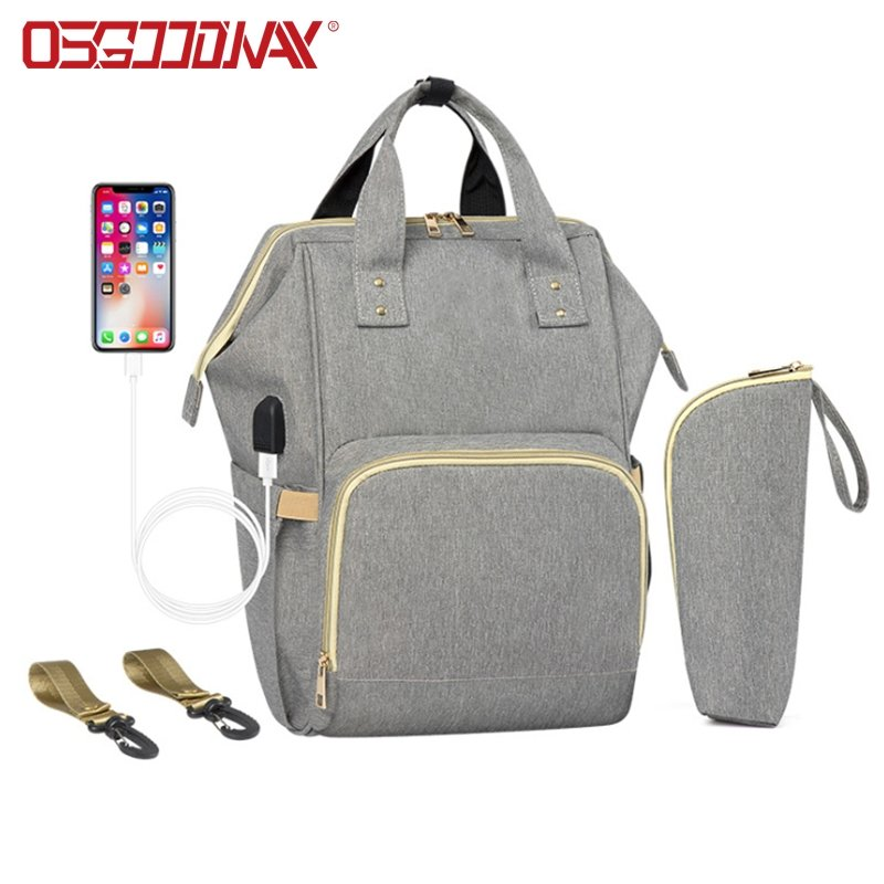 Anti-Water Multi-functional Maternity Backpack Diaper Bag with Built-in USB Charging Port