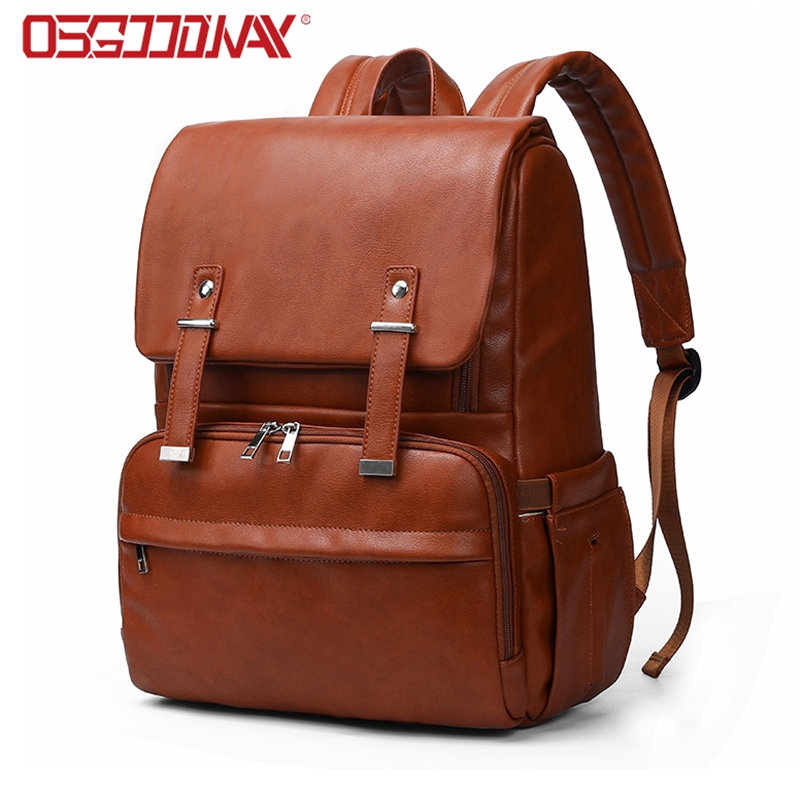 PU Leather Water Proof Large Diaper Bag Backpack for Mom Unisex Maternity Nappy Bag with Stroller Hanger