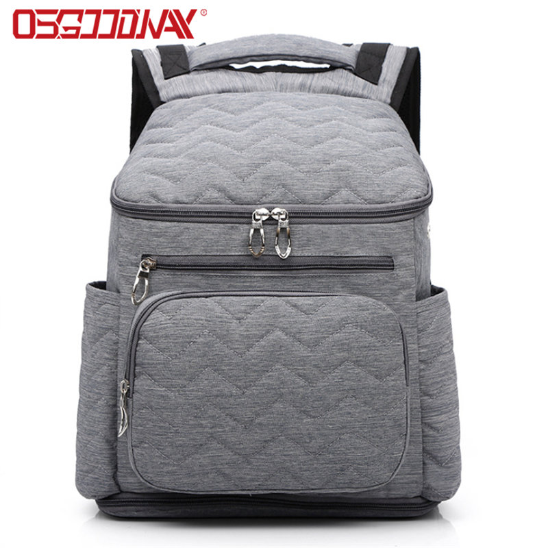 China factory Insulated Waterproof Large Capacity Maternity Grey Diaper Bag for Men Dad Mom