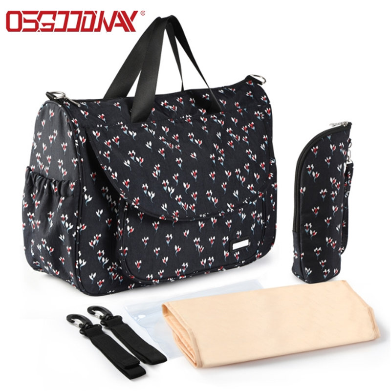 Waterproof Material Diaper Bag with Changing Pad and Insulated Pockets