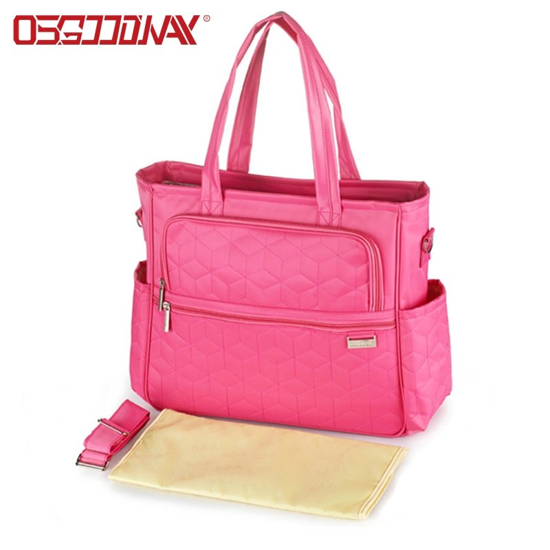 Multi-Function Large Capacity Portable Pink Backpack Diaper Bag with Changing Pad and Stroller Straps