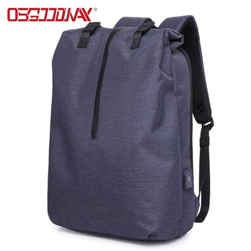 Korean Style Roll Top Design Business Travel Backpack for Men with USB Charging Port
