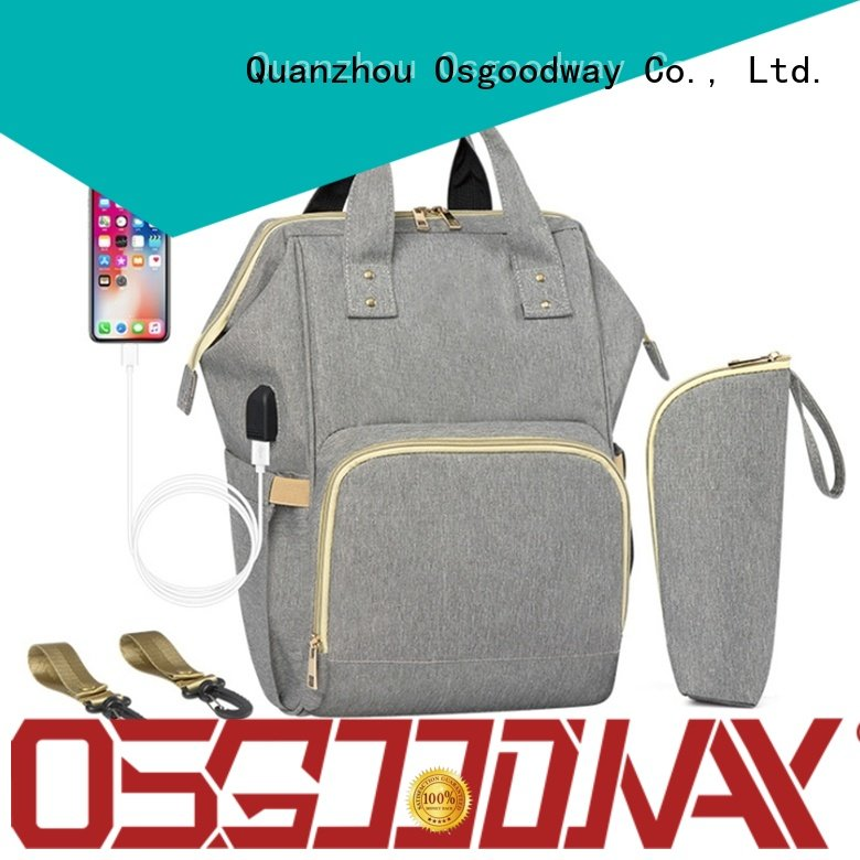 Osgoodway pink personalized diaper bags easy to clean for vacation