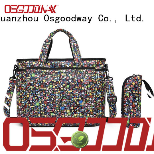 Osgoodway black diaper bag for dad easy to carry for picnic