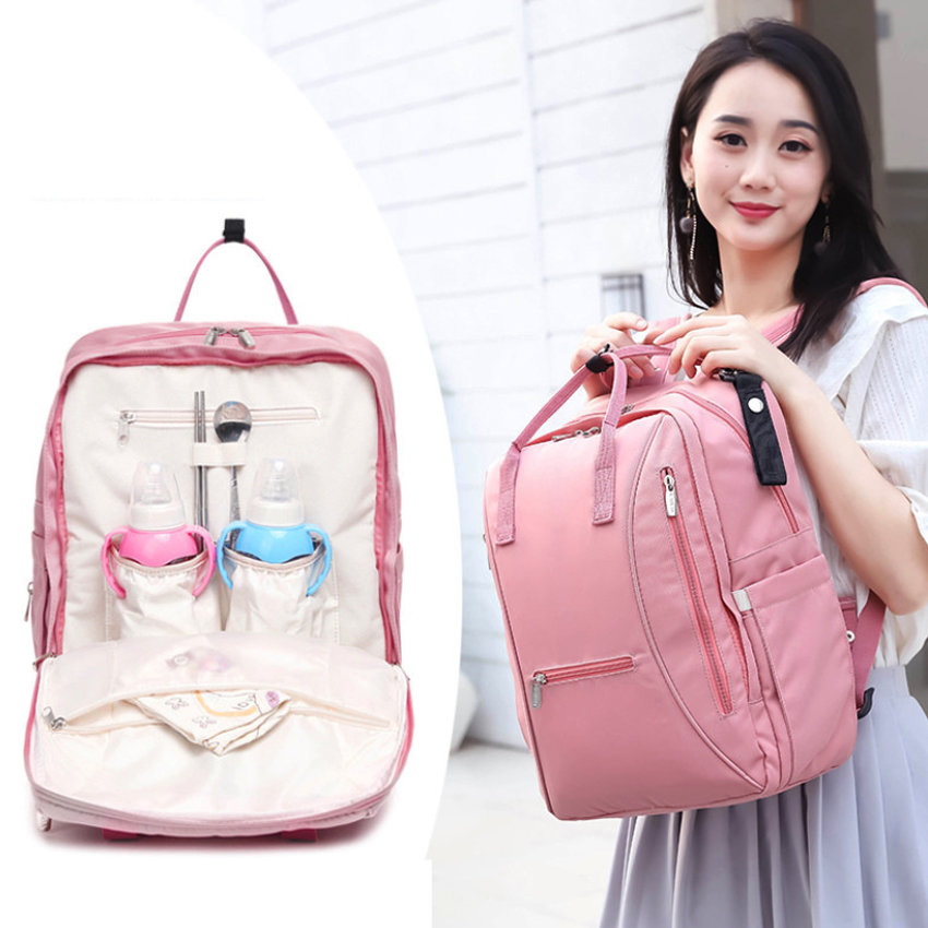 Large Capacity Pink Diaper Bag Travel Backpack Baby Bag
