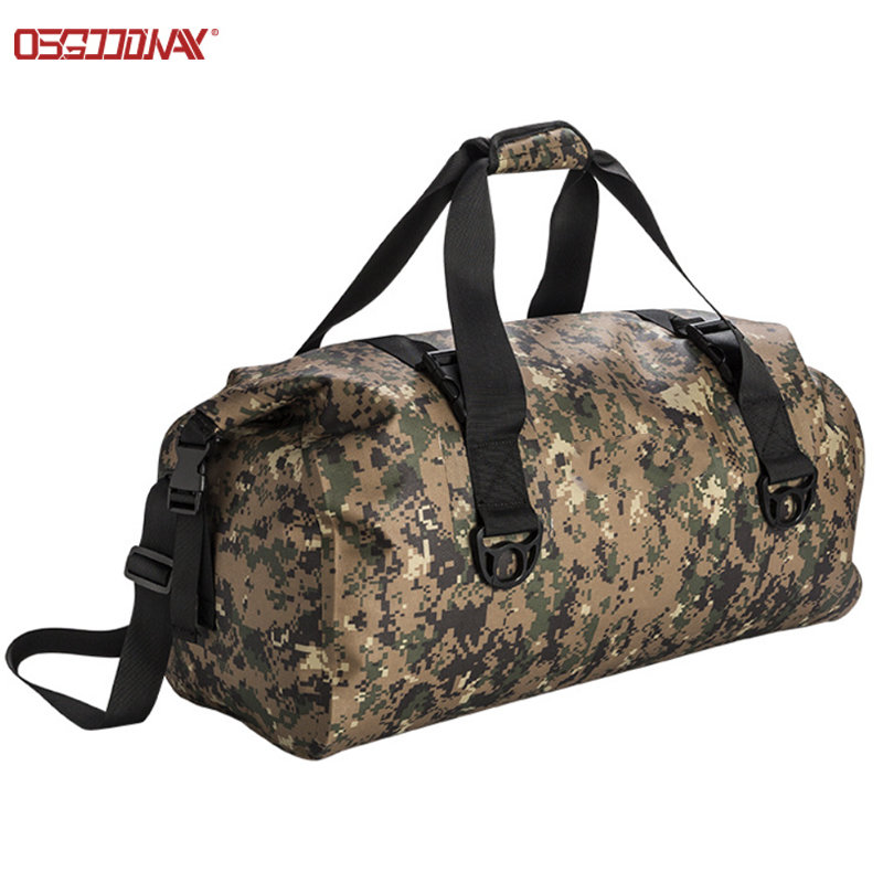 Customized Digital Camo Rolltop Dry Duffle Bag Large Wet Dry Gym Bag