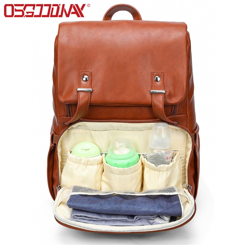 PU Leather Water Proof Large Diaper Bag Backpack for Mom Unisex Maternity Nappy Bag with Stroller Ha