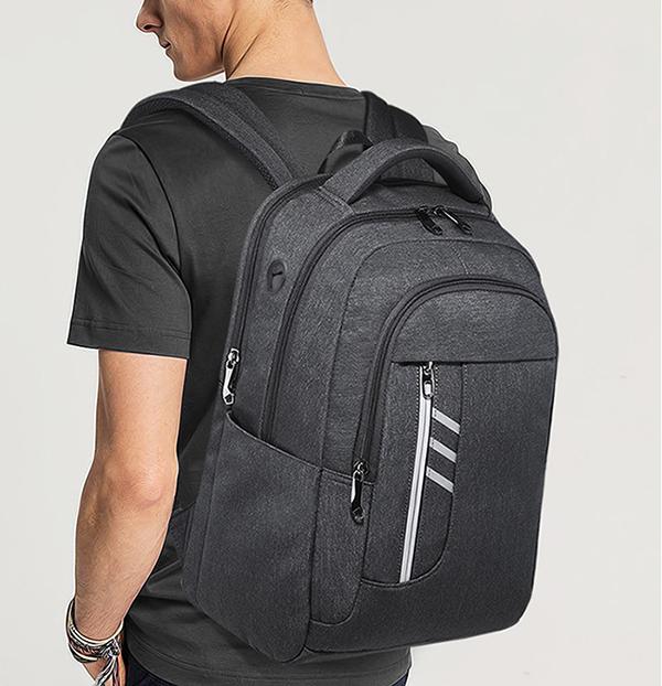 Grey Office Business Travel Waterproof Smart usb Charging Computer Laptop Back Pack Backpack Bag