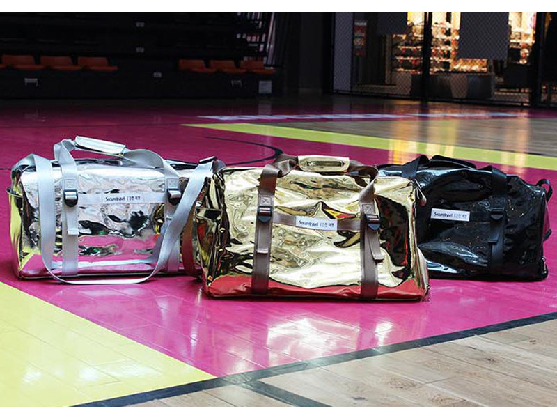 Glossy PU Leather Gym Bag Shoe Compartment Workout Sports Duffel Bag
