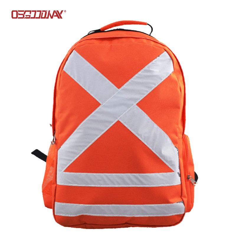 Orange Reflective Student School Bags High Visibility Safety RuckSack Backpack with Earphone Hole
