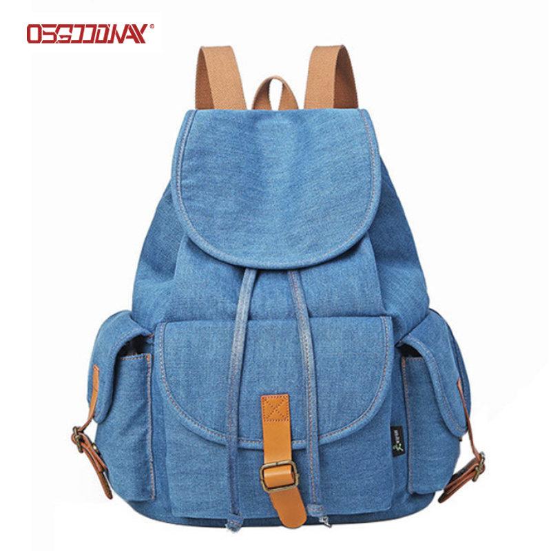 Vintage Blue Jean Drawstring Backpack Canvas Casual School Backpack for Women Men