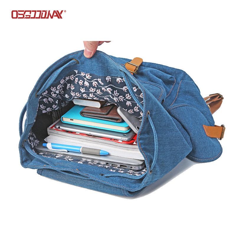 Vintage Blue Jean Drawstring Backpack Canvas Casual School Backpack for Women Men
