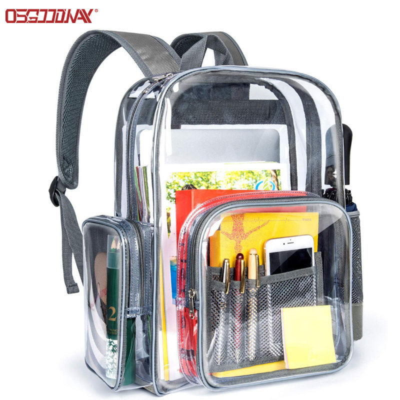 Durable School Backpack with Laptop Compartment Clear Backpack Transparent PVC Bag for School