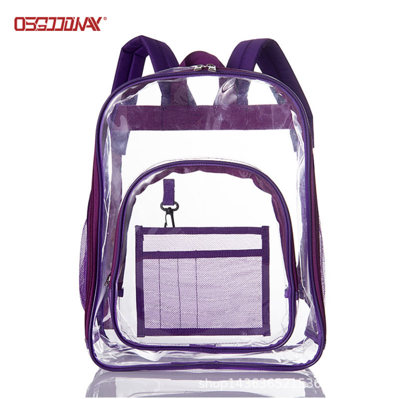 Transparent Casual Daypack Travel Lightweight Bookbag See Through Rucksack for Men Women