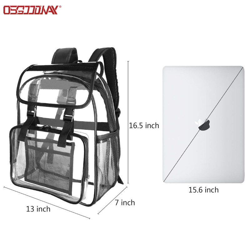 Outdoor Transparent PVC Backpack Lightweight Clear Student Bookbag Bag with Flap