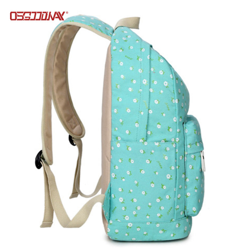 Flower Printed Womens Canvas School Backpack Cute Book Bags for Middle School