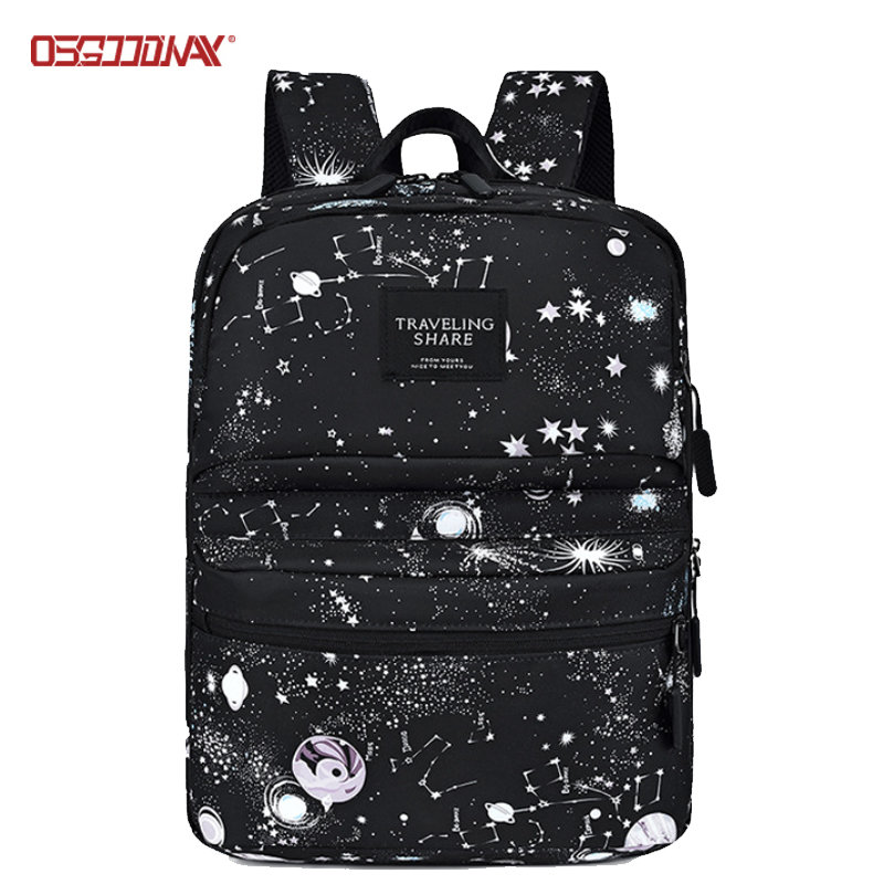 Black Fashion Laptop School Travel Backpack Custom Girl Woman Bagpack School Backpack