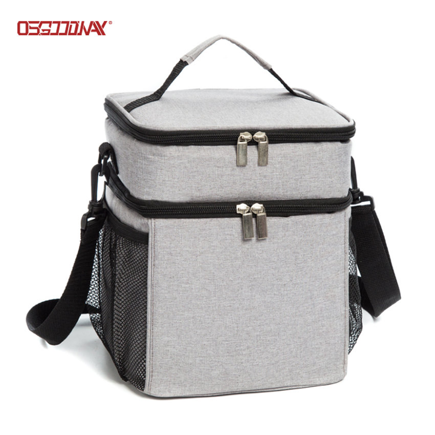 Custom Logo Insulated Double Deck Lunch Cooler Bag with Shoulder Strap for camping ,hiking, picnic