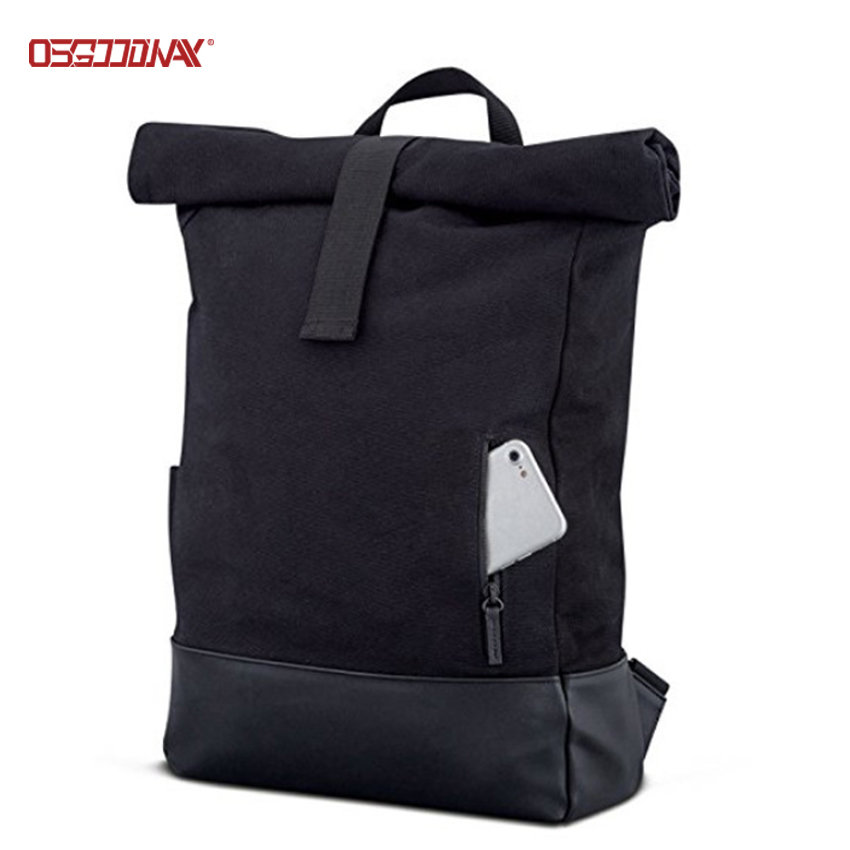 Black Canvas Backpack for Men Women Top Roll Waterproof Canvas Rucksack Backpack