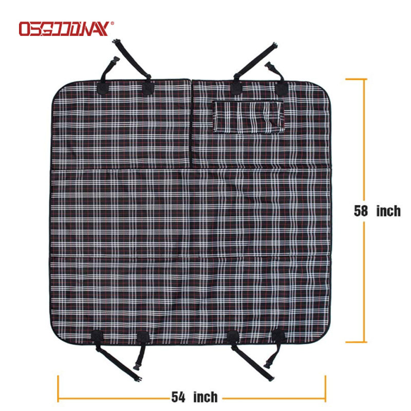 Scottish Grid Pattern Dog Travel Hammock Scratch Proof Nonslip Protector Pet Seat Covers for Cars
