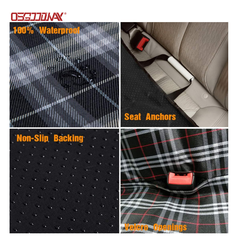 product-Osgoodway-Scottish Grid Pattern Dog Travel Hammock Scratch Proof Nonslip Protector Pet Seat