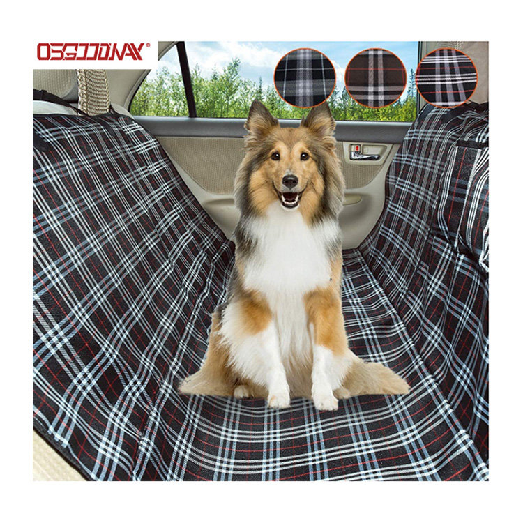 Osgoodway-Scottish Grid Pattern Dog Travel Hammock Scratch Proof Nonslip Protector Pet Seat Covers for Cars